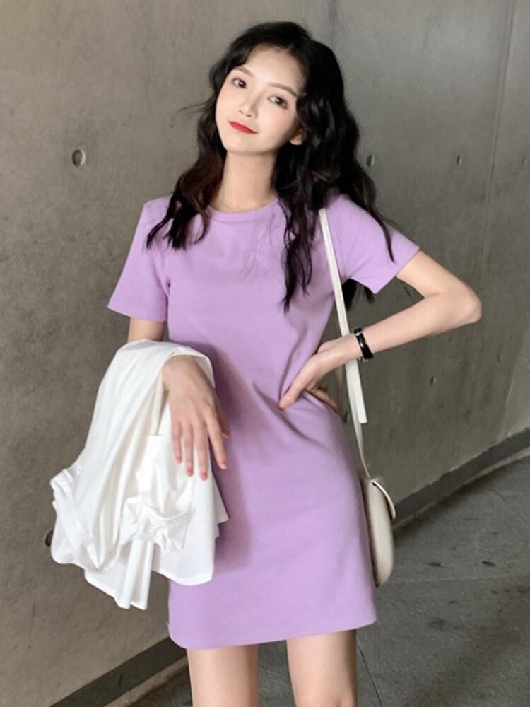 (PRE ORDER) WOMEN ROUND NECK SOLID COLOR PLAIN DRESS