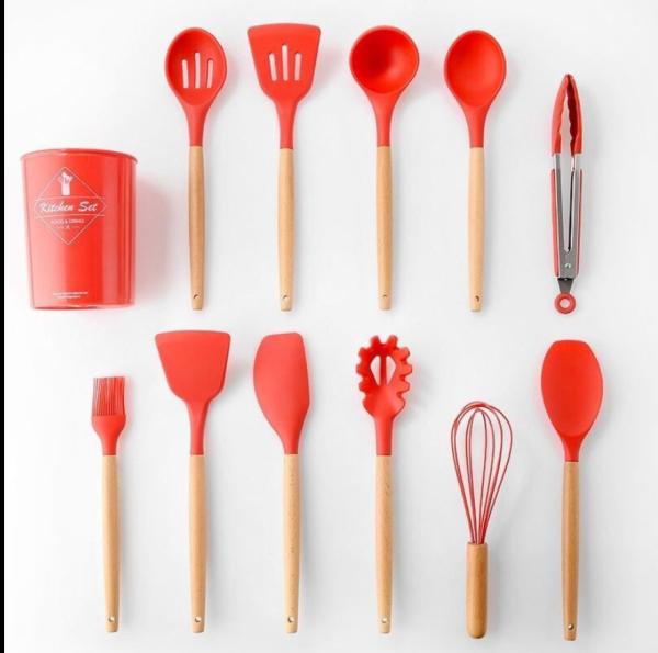 11 Cái Tay Cầm Bằng Gỗ Tự Nhiên Đồ Dùng Nhà Bếp Bằng Silicon Dụng Cụ Nấu Ăn Chất Lượng Cao Turner Kẹp Thìa Dụng Cụ Muỗng Với Hộp Đựng