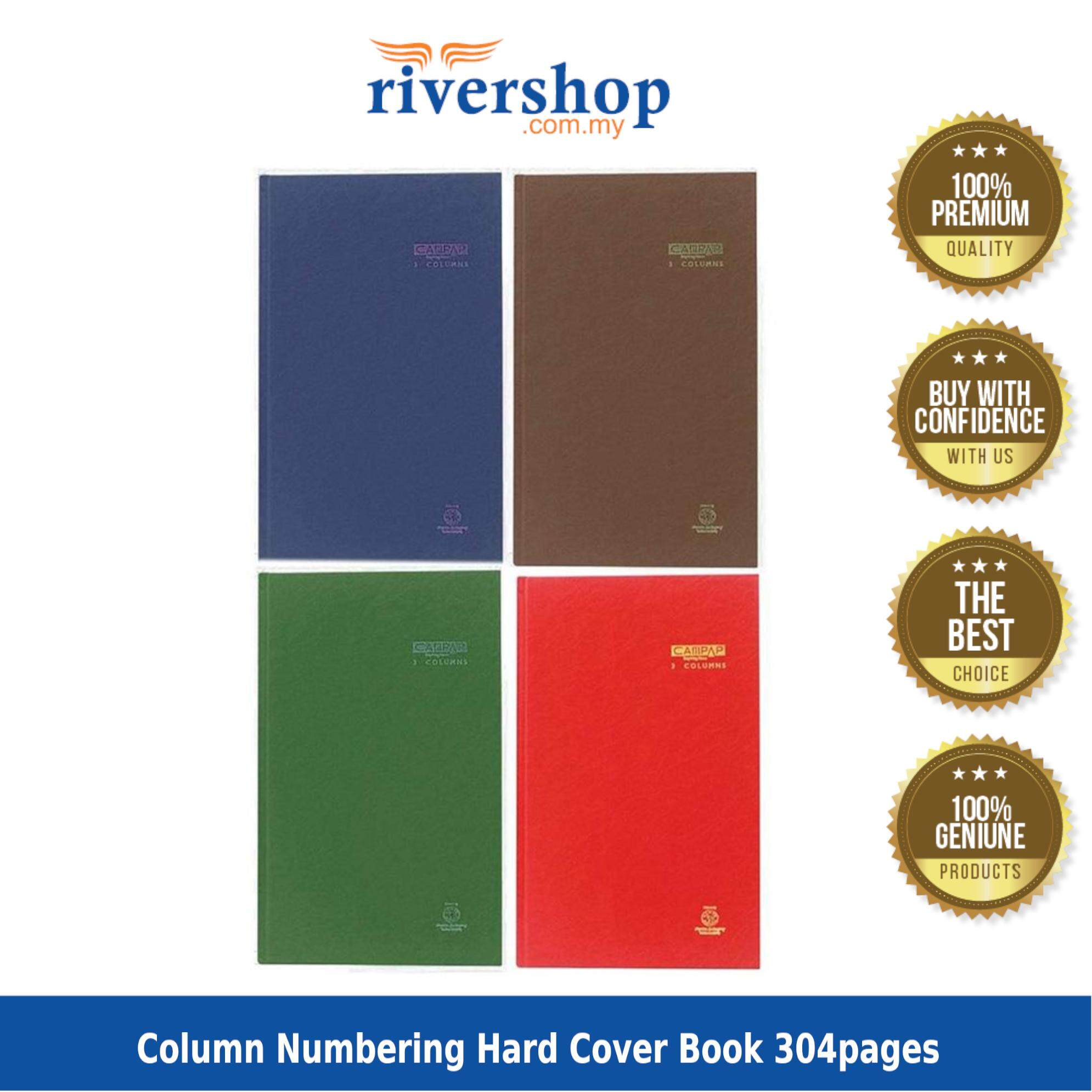Campap CA3132 F4 3 Column Numbering Hard Cover Book 304pages