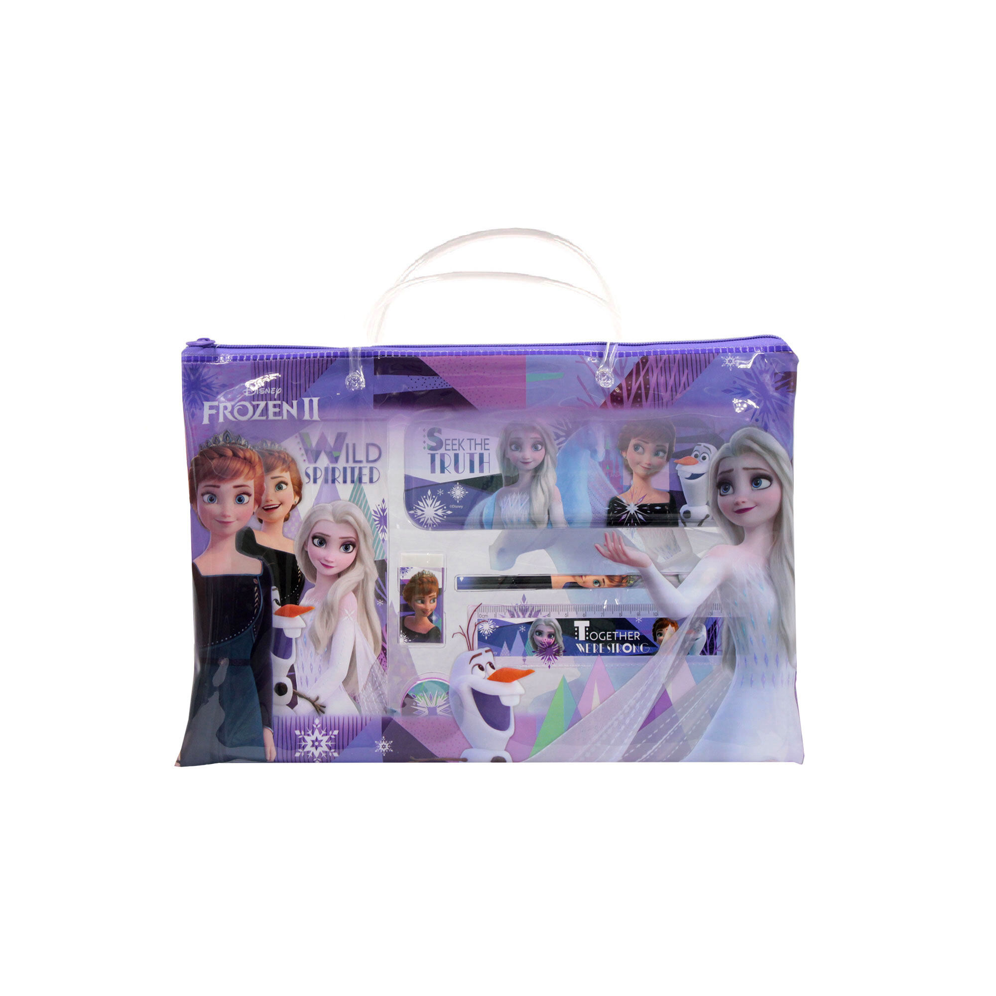 Disney Princess Frozen 2 :  6 In 1 Children'S School Stationery Set With Pencil Case, Pencil, Eraser, Noted Book , Ruler & Sharpener