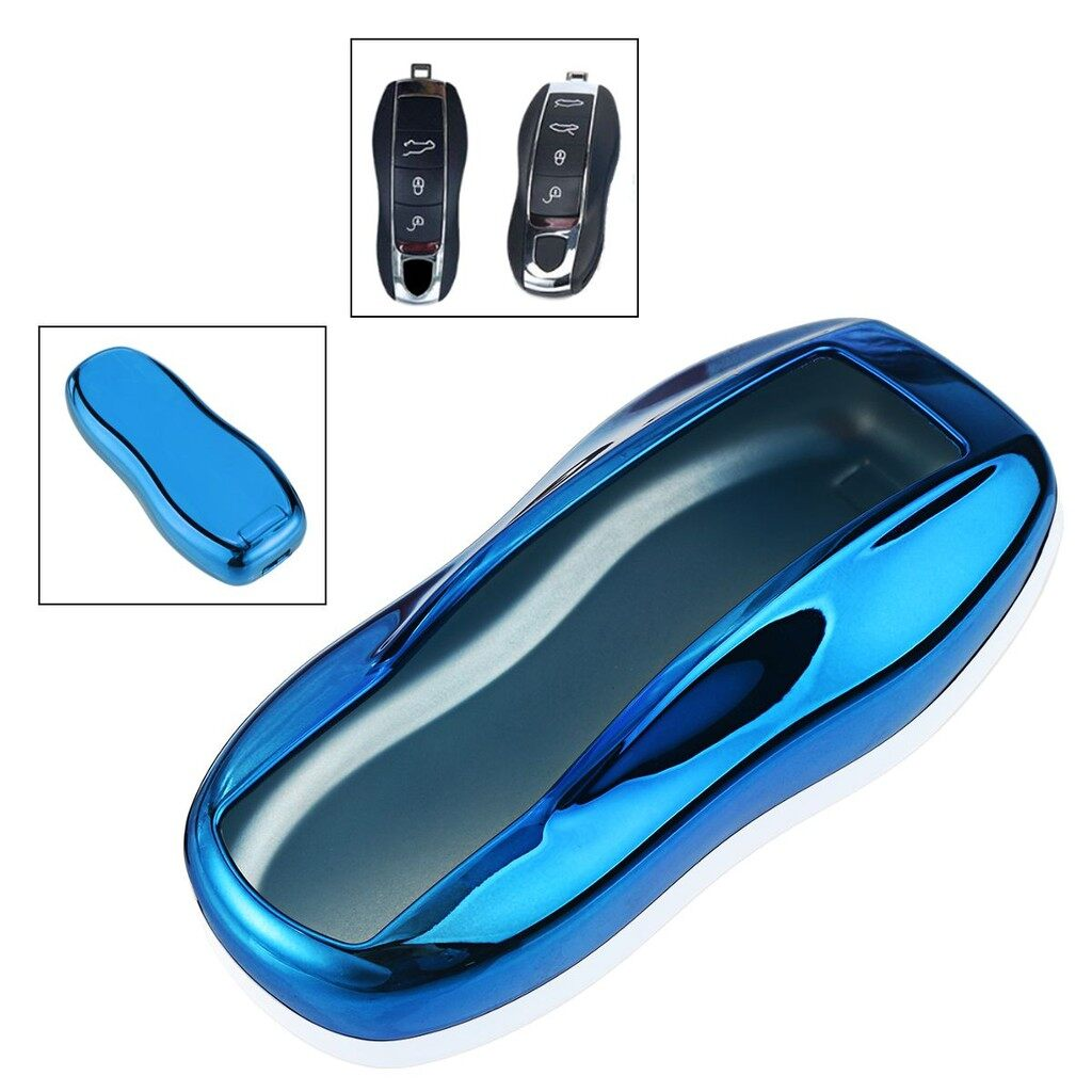 Tyres & Wheels - Remote Smart Key Cover Fob Case For Porsche Cayenne 911 - BLUE / PINK / RED / SILVER / GOLD / BLACK
