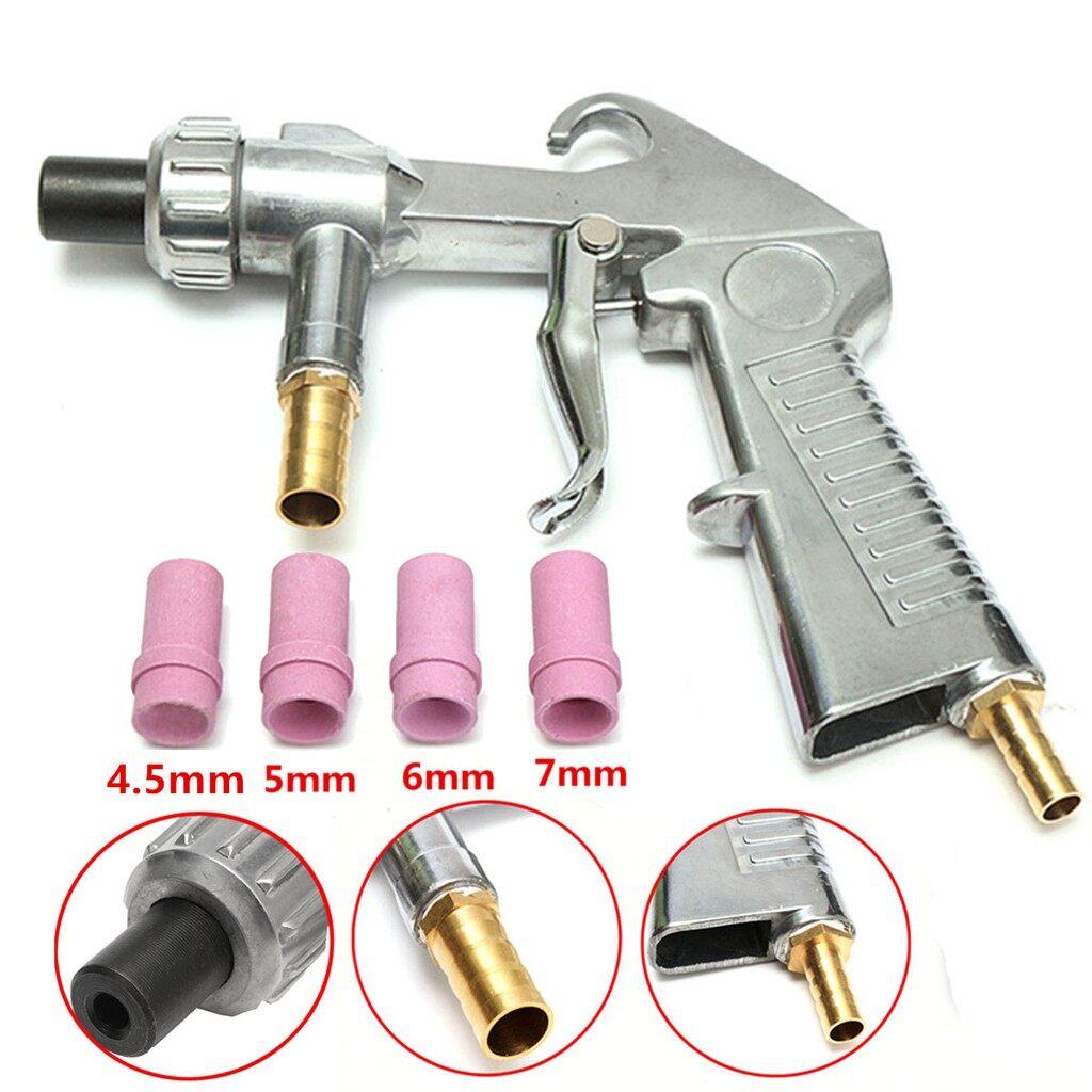 Car Lights - Sand Blasting Gun Sandblaster + 4 PIECE(s) Ceramic Nozzles + Extra Iron Nozzle Tip Kit - Replacement Parts