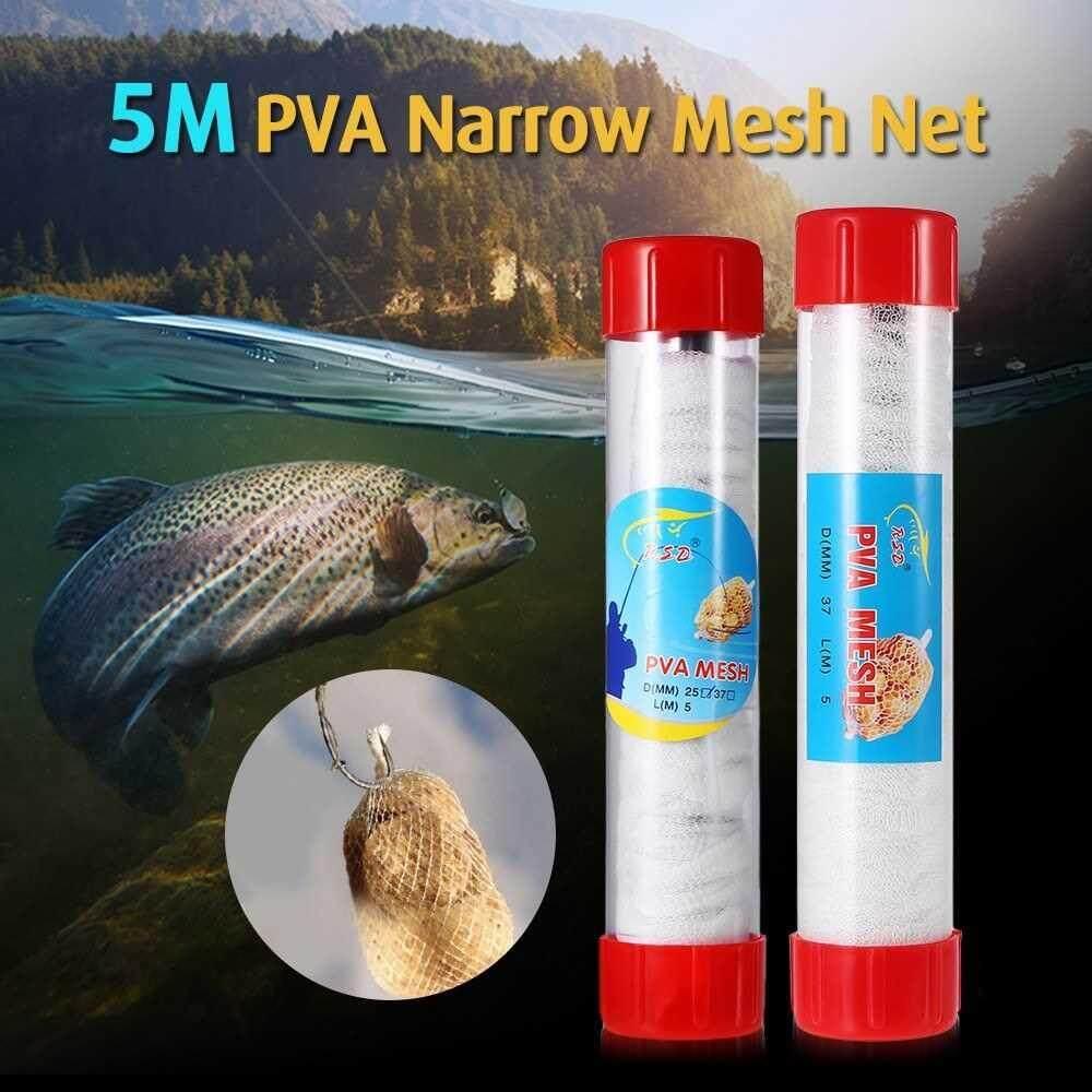PVA Narrow Mesh Net in Tube 5M Dissolving Stocking Bait Bags Fishing Mesh Universal Refill Stocking Bait Bags (#25)
