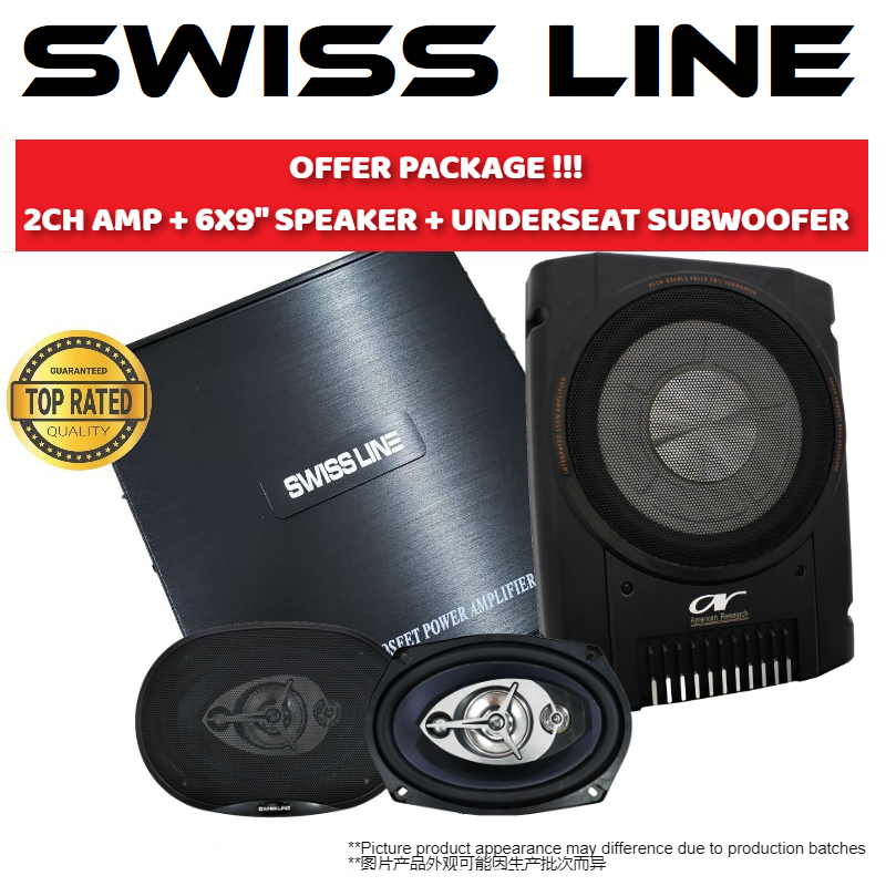 SWISS LINE PACKAGE 2 CHANNEL CAR POWER AMP + SWISS LINE S-69 6X9 4-WAY COAXIAL CAR SPEAKERS 250W + UNDERSEAT SUPER SLIM ACTIVE SUBWOOFER