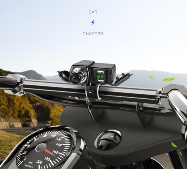 Motorcycle digital display dual usb car charger
