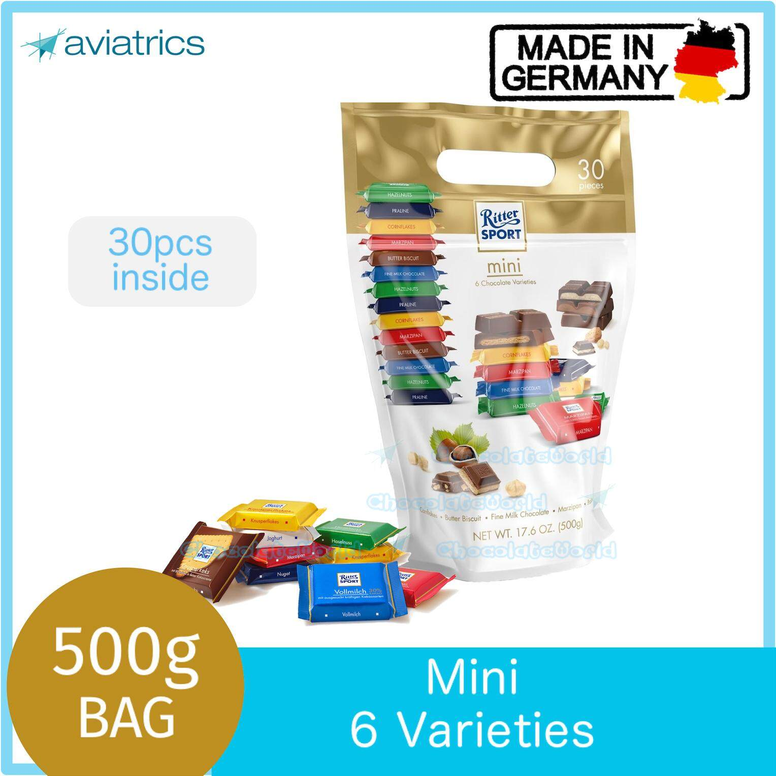 Ritter Sport Mini Mix Party Bag 500g (Made in Germany)