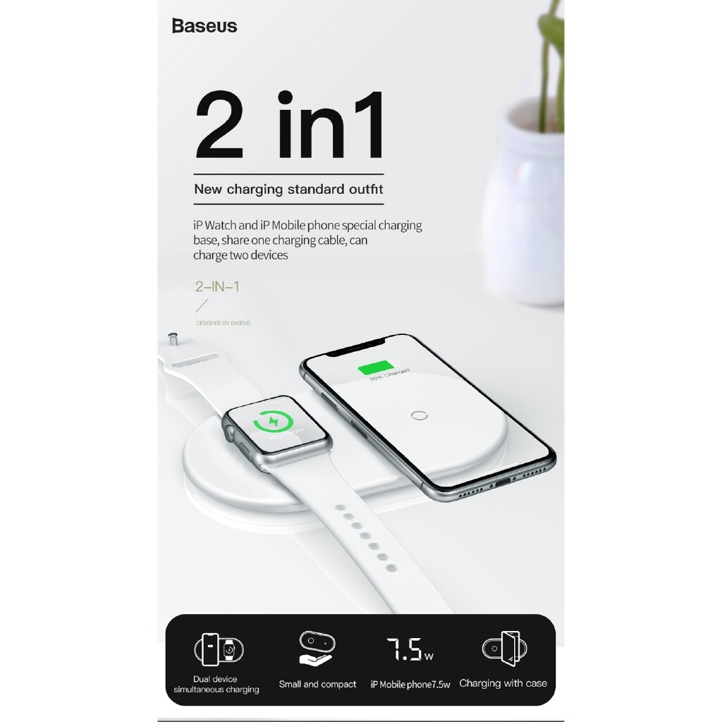 Chargers - Baseus 2 in 1 10W Qi WIRELESS Charger For Apple Watch 4 3 2 1 for iPh X XR Xs - Cables