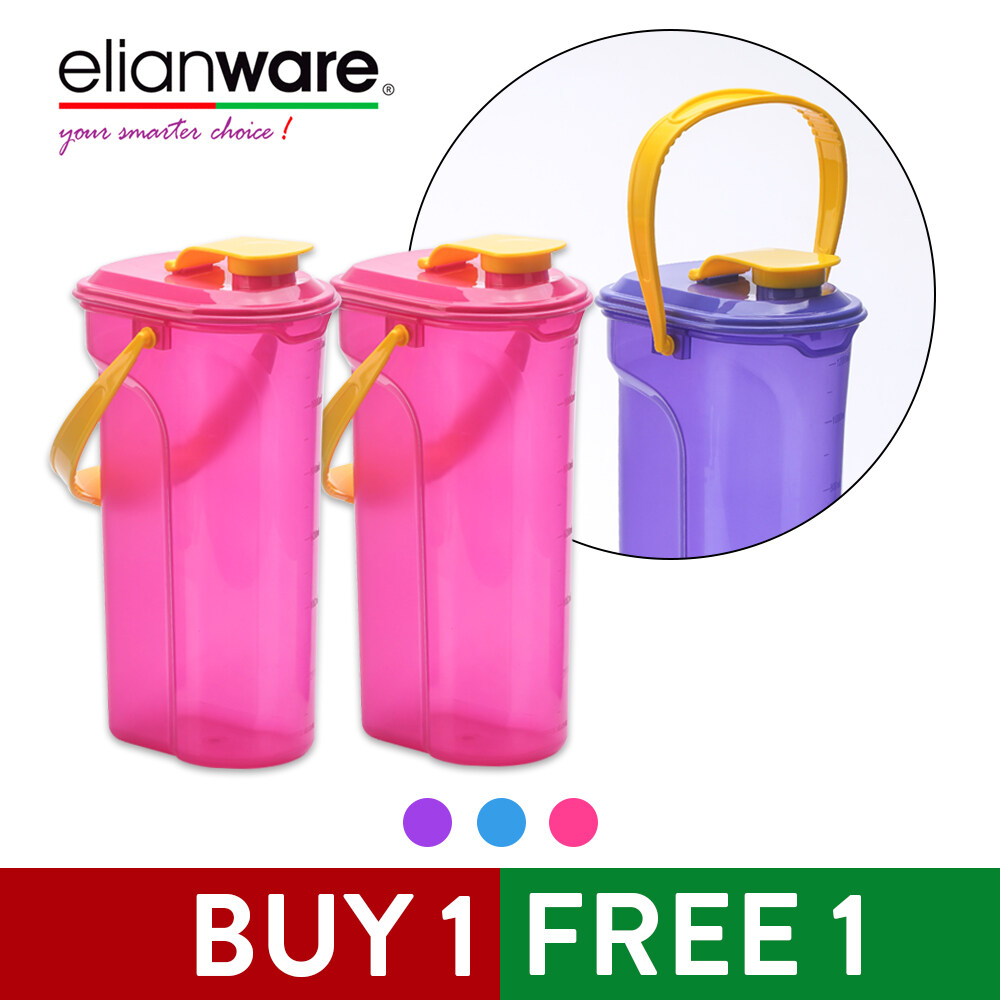 Elianware Pink Rectangular E-Fresh BPA Free Water Tumbler with Handle 1.3Ltr x 2