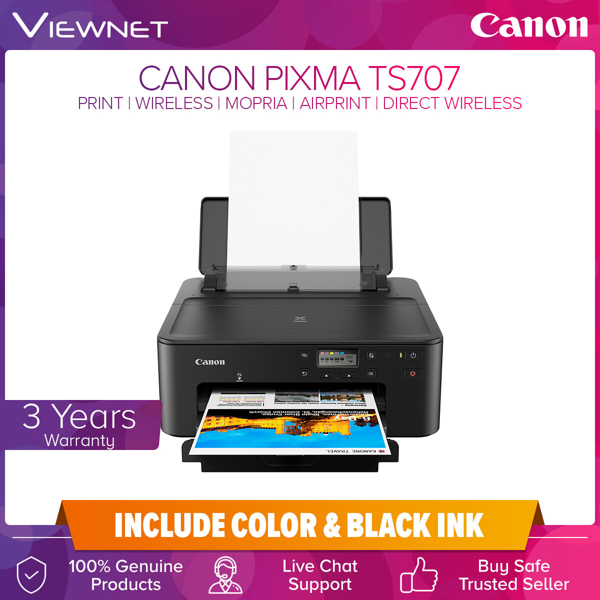 Canon PIXMA TS707 High Performance Wireless Printer for Home and Small Offices, Print, Wireless, Wired LAN, Wireless/Wired LAN Pictbridge, Mopria, AirPrint, BLE, Direct Wireless