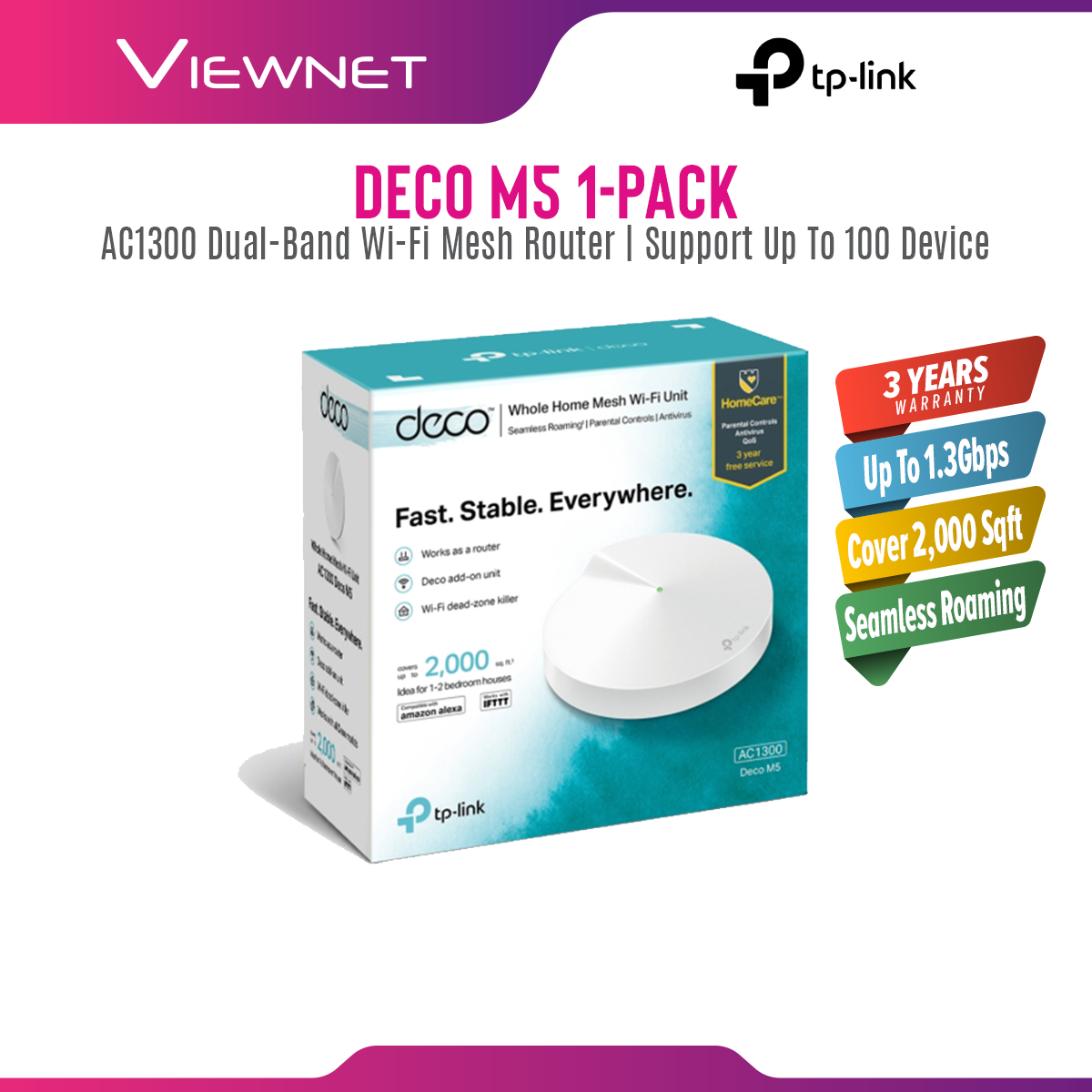 [Fast Shipment🚀] Tp-Link Deco M5 (1-Pack) AC1300 Mesh Router
