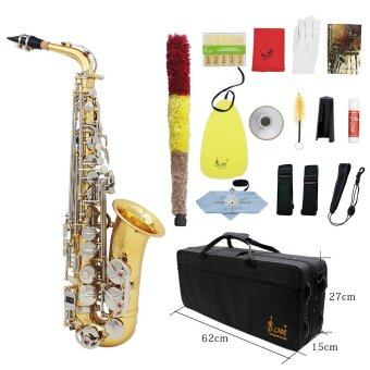 Harga LADE Alto Saxophone Sax Glossy Brass Engraved Eb E-Flat Natural White Shell Button Wind Instrument with Case Mute Gloves Cleaning Cloth Grease Belt Brush Outdoorfree