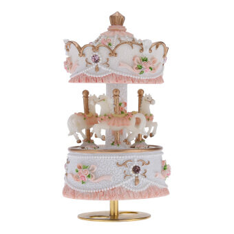 Harga Laxury Windup 3-horse Carousel Music Box Artware/Gift Melody Castle in the Sky Pink/Purple/Blue/Gold Shade for Option
