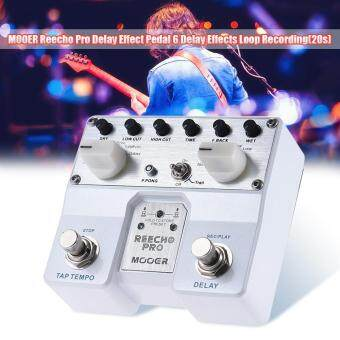 Harga MOOER Reecho Pro Digital Delay Guitar Effect Pedal Twin Footswitch with 6 Delay Effects Loop Recording (20 Seconds) Function Outdoorfree
