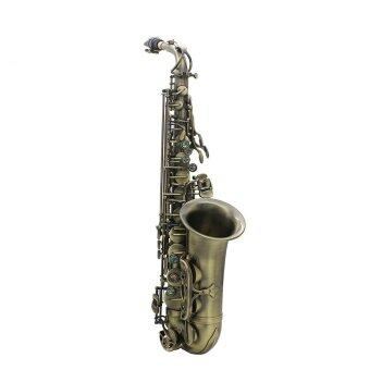 Harga High Grade Antique Finish Bend Eb E-flat Alto Saxophone Sax Abalone Shell Key Carve Pattern with Case Gloves Cleaning Cloth Straps Grease Brush