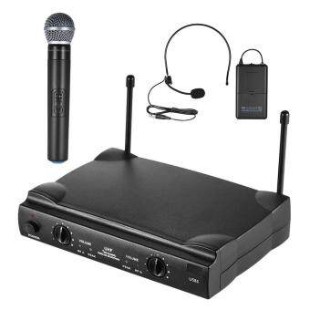 Harga UHF Dual Channels Wireless Microphone Mic System with 1 Bodypack Transmitter 1 Headset and 1 Handheld Microphones Receiver 6.35mm Audio Cable
