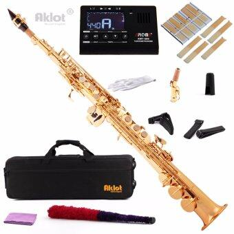 Harga Aklot Bb Soprano Saxophone Sax Gold Lacquered Brass Body with Tuner and Reeds