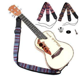 Harga Adjustable 75-130cm Ukulele Guitar Strap Cotton Leather Bohemian Style Sling Belt Buckle with Tail Nail