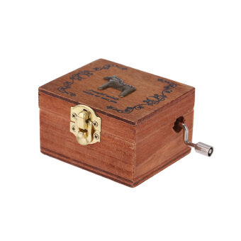 Harga Retro Wooden Musical Box Hand Crank Music Box Exquisite Workmanship 4 Patterns for Option