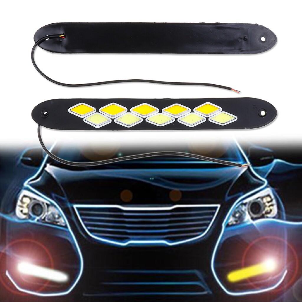 Automotive Tools & Equipment - 2 PIECE(s) Waterproof 12V LED COB Car DRL COB Strip Daytime Running Lamp Fog Light - Car Replacement Parts