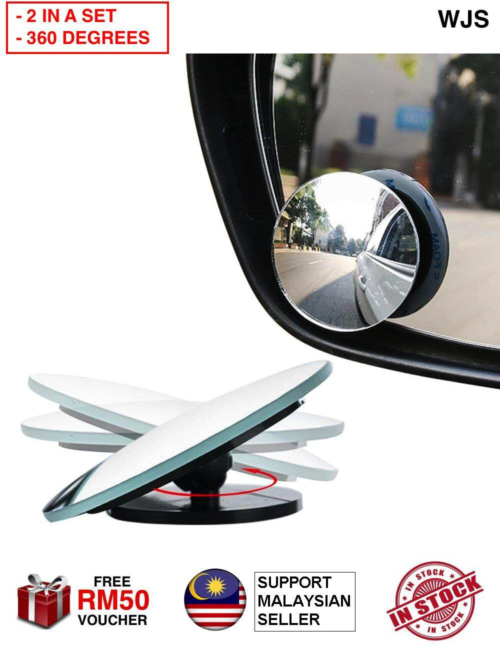 (ROTATABLE 360 DEGREES) 2pcs 2 pcs WJS Car Rear View Blind Spot Mirror Mini Side Mirror Round Stick-On Convex Mirror Wide Angle View Mirror For Safer Driving BLACK 360 DEGREES [FREE RM 50 VOUCHER]
