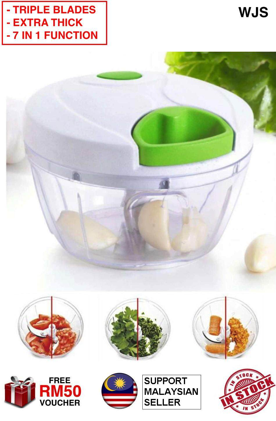 (WITH TRIPLE STAINLESS STEEL BLADES) WJS 2019 Version Extra Thick Multi Function Speedy Chopper Upgraded Version Manual Cyclone Hand Pull Perfect Kitchen Tool Kitchen Utensil     Cut Chop Shred Grind Mince Puree Mash 3 BLADES GREEN [FREE RM 50 VOUCHER]