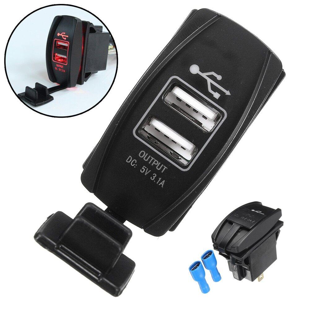 Pendrives - 1 PIECE(s) Car Truck Boat Red LED 12V&24V Dual USB Charger Backlit UTV - Storage & Hard Drives