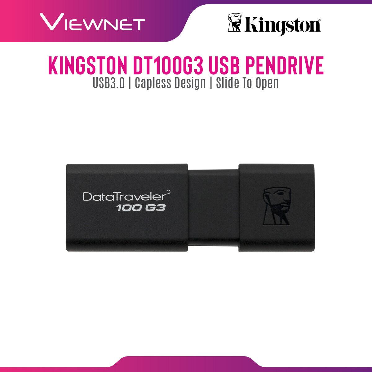 Kingston DataTraveler 100 G3 128GB Pendrive USB 3.1 Gen 1 (USB 3.0) Flash Drive (DT100G3) USB 2.0 Compatible Windows & Mac Compatible Five-Year Warranty Stylish Black-on-Black Sliding Cap Design Pendrive