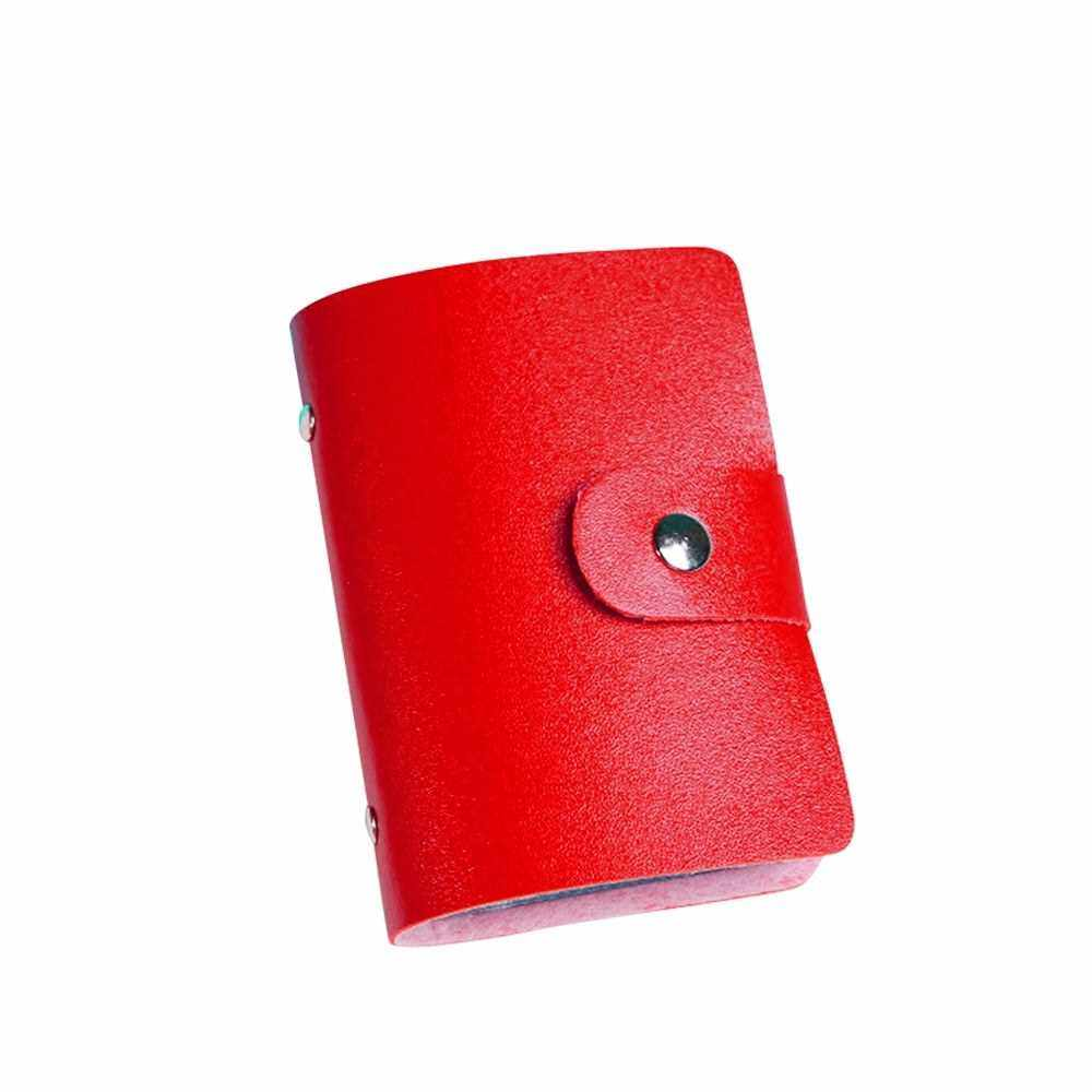 Fashion Women Men Card Holder Organizer 24 Card Slots PU Leather Business ID Credit Card Case (Red)
