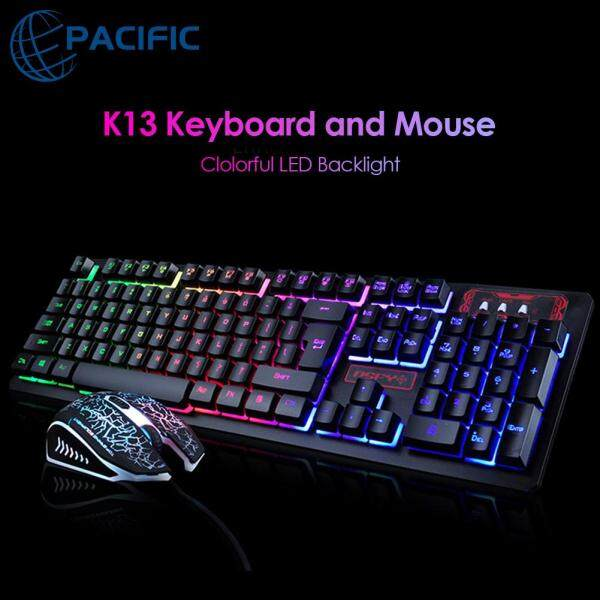 Professional K13 Gaming Wired Keyboard and Mouse Combo Set Backlight Silent for PC Laptop Singapore