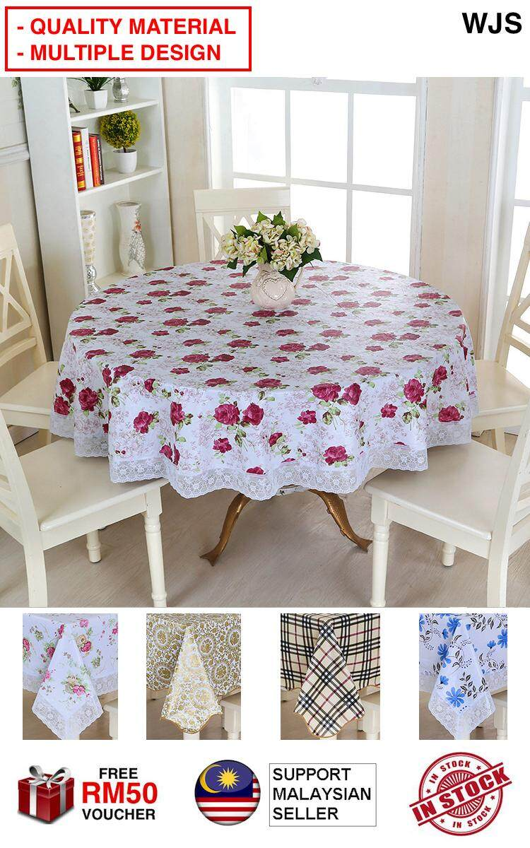 (QUALITY MATERIAL) WJS Heatproof Waterproof Table Cloth Table Cover Round Cover Circle Pastoral Style Antiscratch Dining Table Cloths MULTIPLE DESIGN AND SIZE [FREE RM 50 VOUCHER]