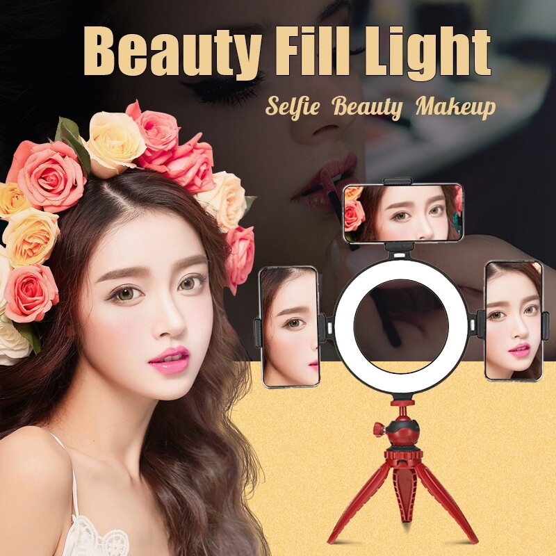 Selfie Lights - 3 Colors Dimmable LED Studio Ring Beauty Fill Light Make Up Selfie Photo - BLACK / PINK