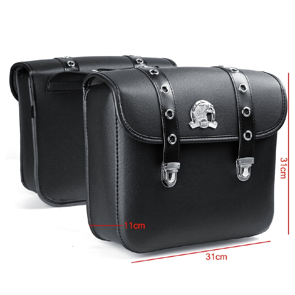 Moto Accessories - 1Pair PU Leather Motorcycle Motorbike Side Saddlebag Luggage Saddle Tool Bag Black - TYPE A / TYPE B