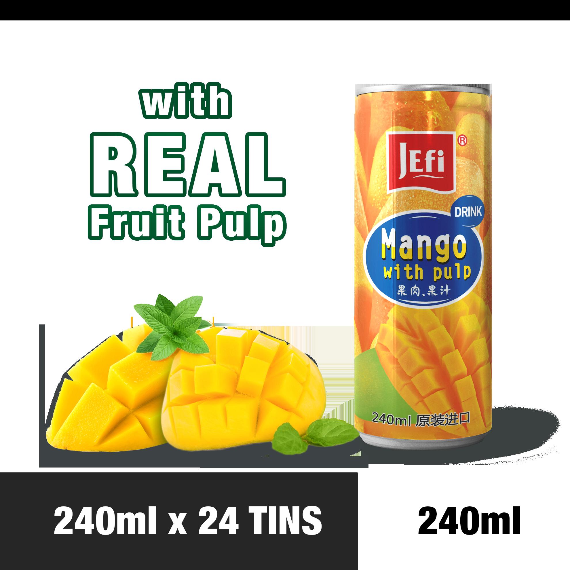 JEFI Mango Drink with Real Fruit Pulp (240ml x 24tins)