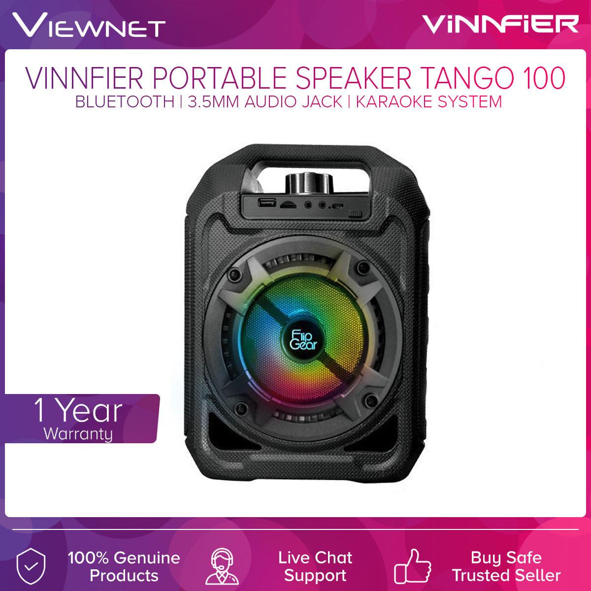 Vinnfier Portable Speaker Tango 100 with Bluetooth Connection, USB & Micro SD Card Slot, 3.5M Audio Jack, FM Radio, Karaoke System, 20W Extra Bass