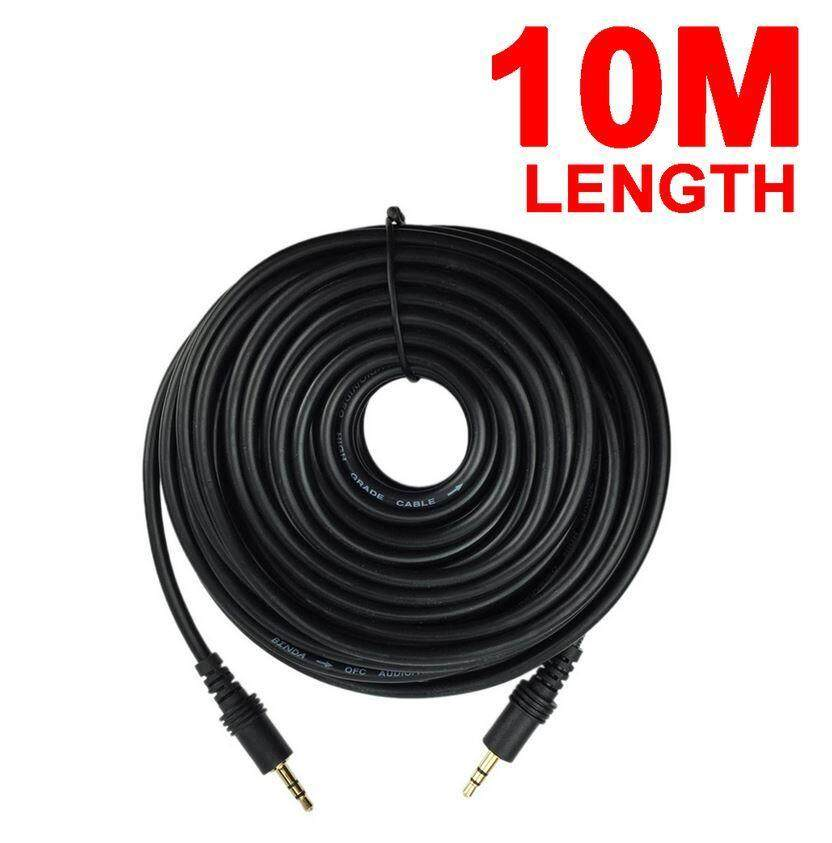 10M Gold-Plated Stereo Audio Aux Cable 3.5mm Male to Male