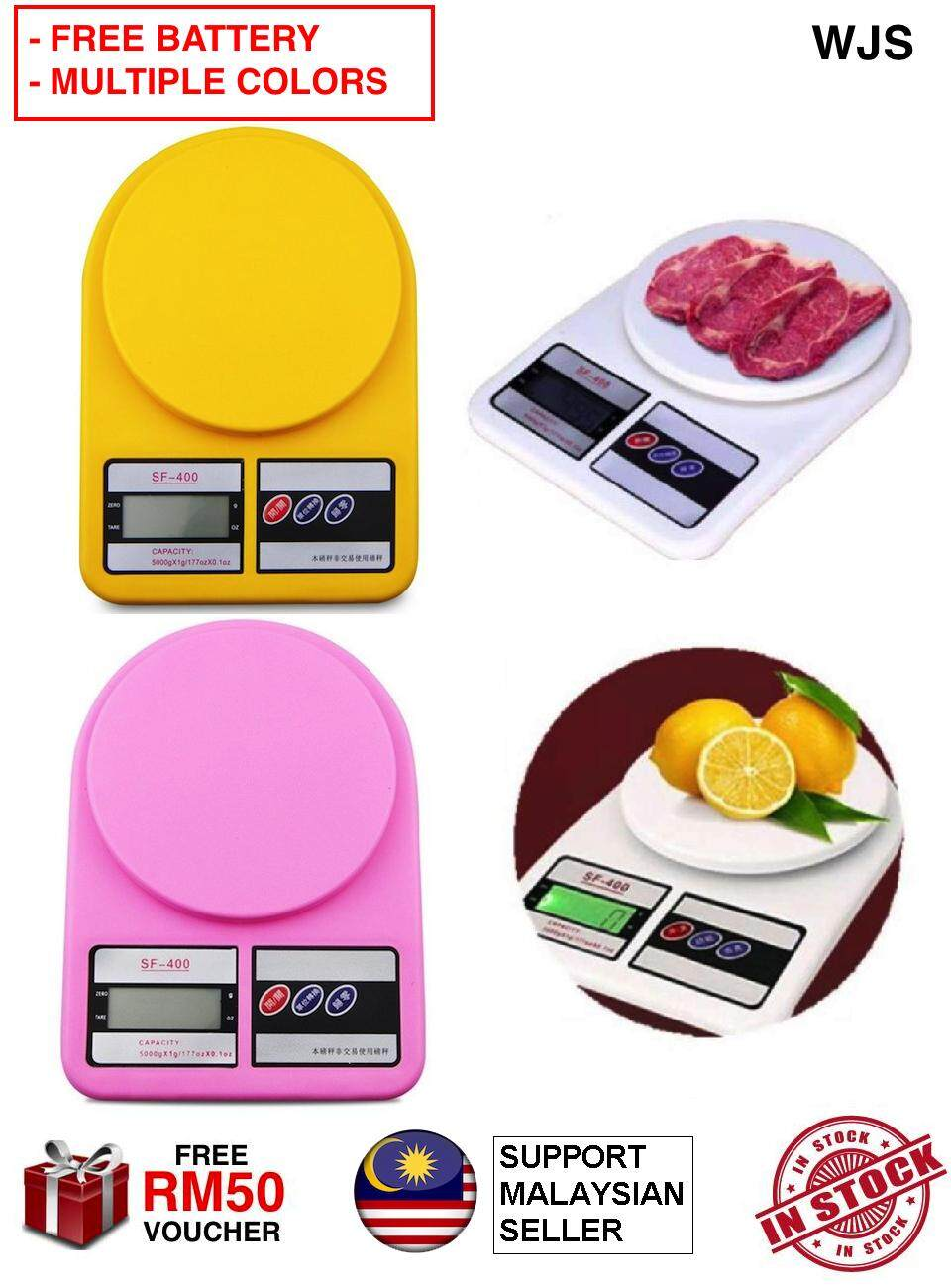 (FREE BATTERY) WJS 10kg 10 KG Kitchen Digital Scale Multi Function Kitchen and Food Digital Scale Weighing Tool Multifunctional WHITE YELLOW PINK BLUE GREEN [FREE RM 50 VOUCHER]