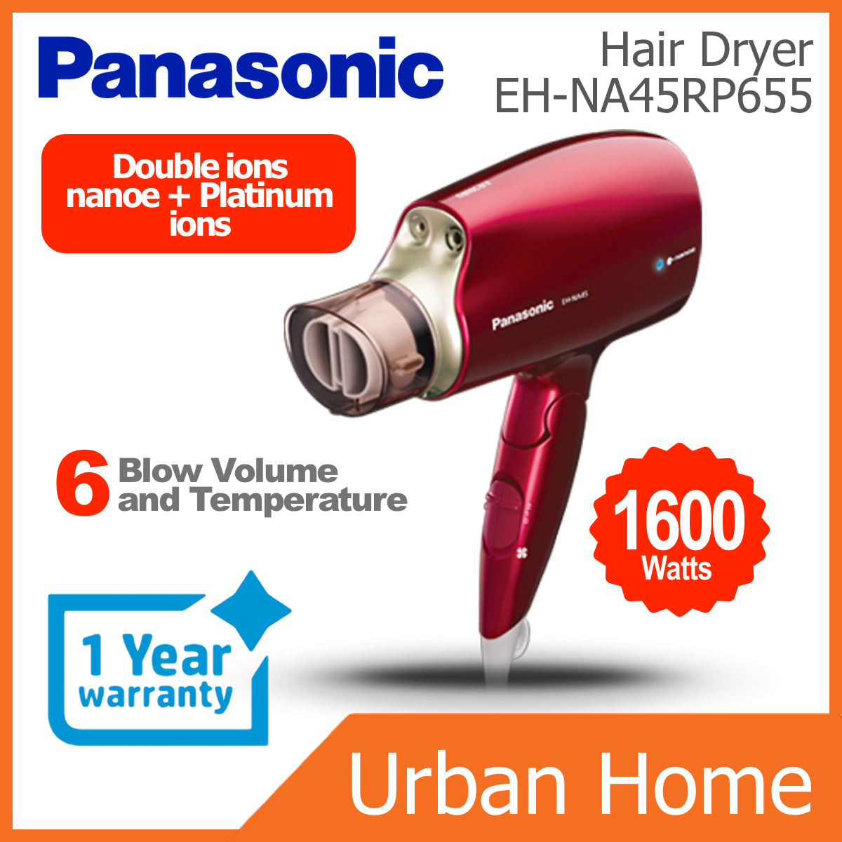 PANASONIC 1600w nanoe & Platinum ions Hair Dryer (EH-NA45/EHNA45/EH-NA45RP655/EHNA45RP655)