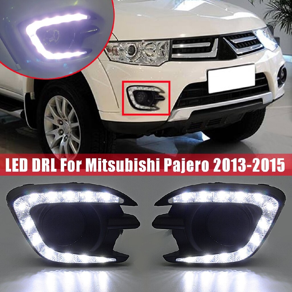 Car Lights - Pair DRL Daytime Running Lights Lamps LED For Mitsubishi Pajero 2013 2014 2015 - Replacement Parts