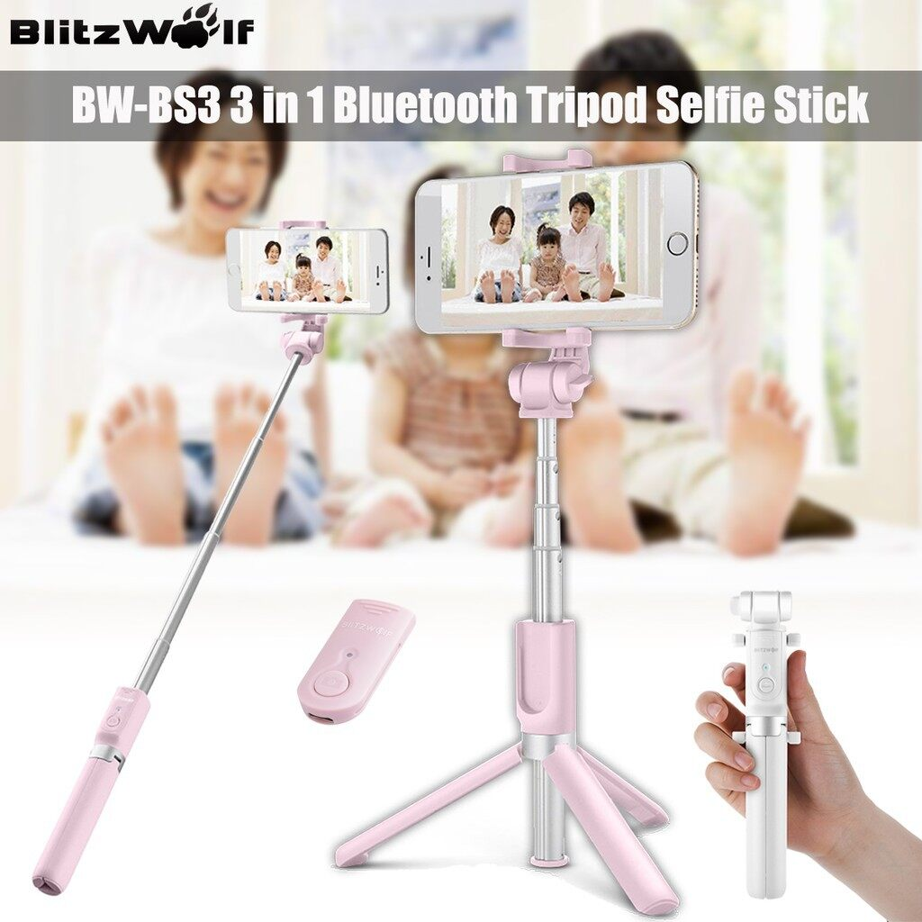 Monopod - BlitzWolf BW-BS3 3-in-1 360 BLUETOOTH Remote Tripod Selfie Stick For 3.5-6 Phone - PINK / WHITE