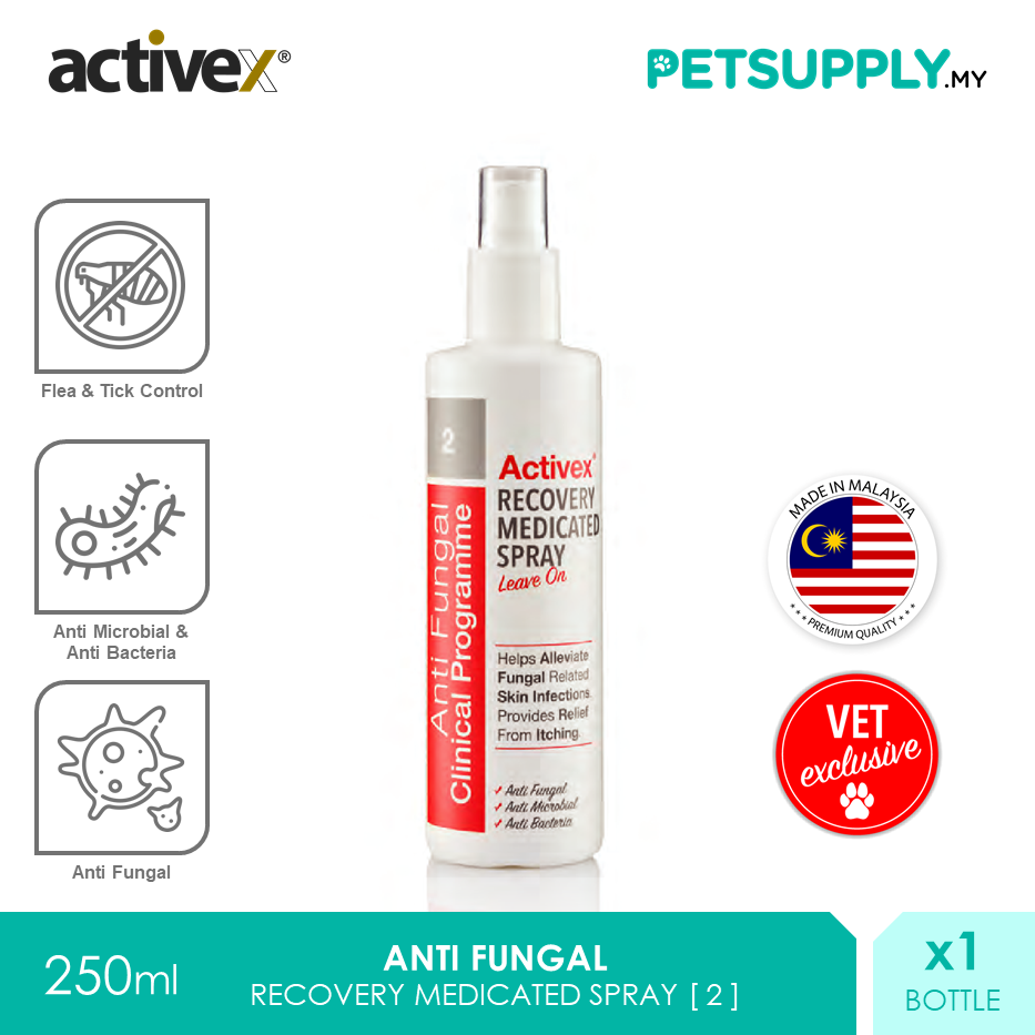 Activex Anti Fungal Antiseptic Recovery Medicated Spray 250ml [Perawatan Luka Pet Cat Dog Kucing Anjing - Petsupply.my]