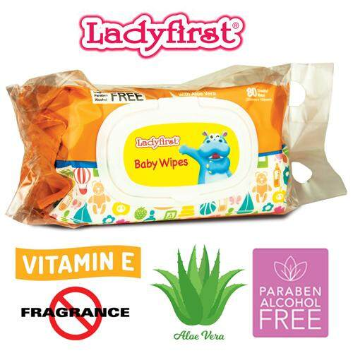 Ladyfirst Hipopo Baby Wipes with Fragrance Free (80's Twin Pack)