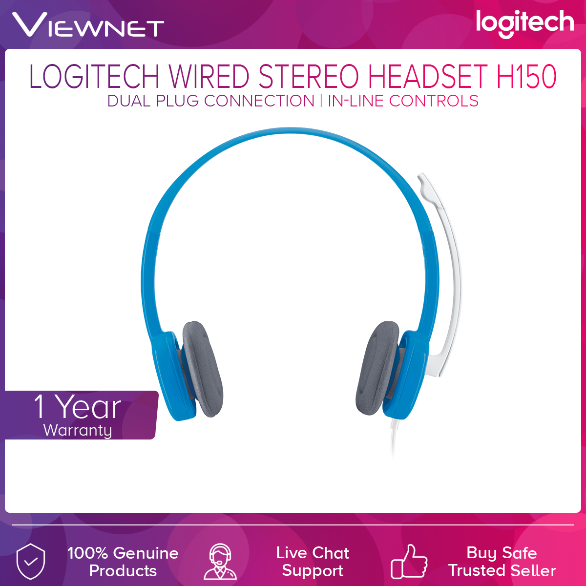 Logitech H150 Cloud White/Sky Blue Headset (981-000453/981-000454)