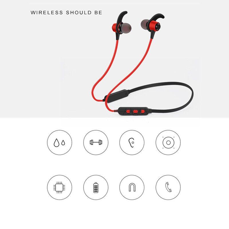 8D Stereo Metal Magnetic BLUETOOTH Earphones Sport Headphones Waterproof Sweatproof - BLACK / RED