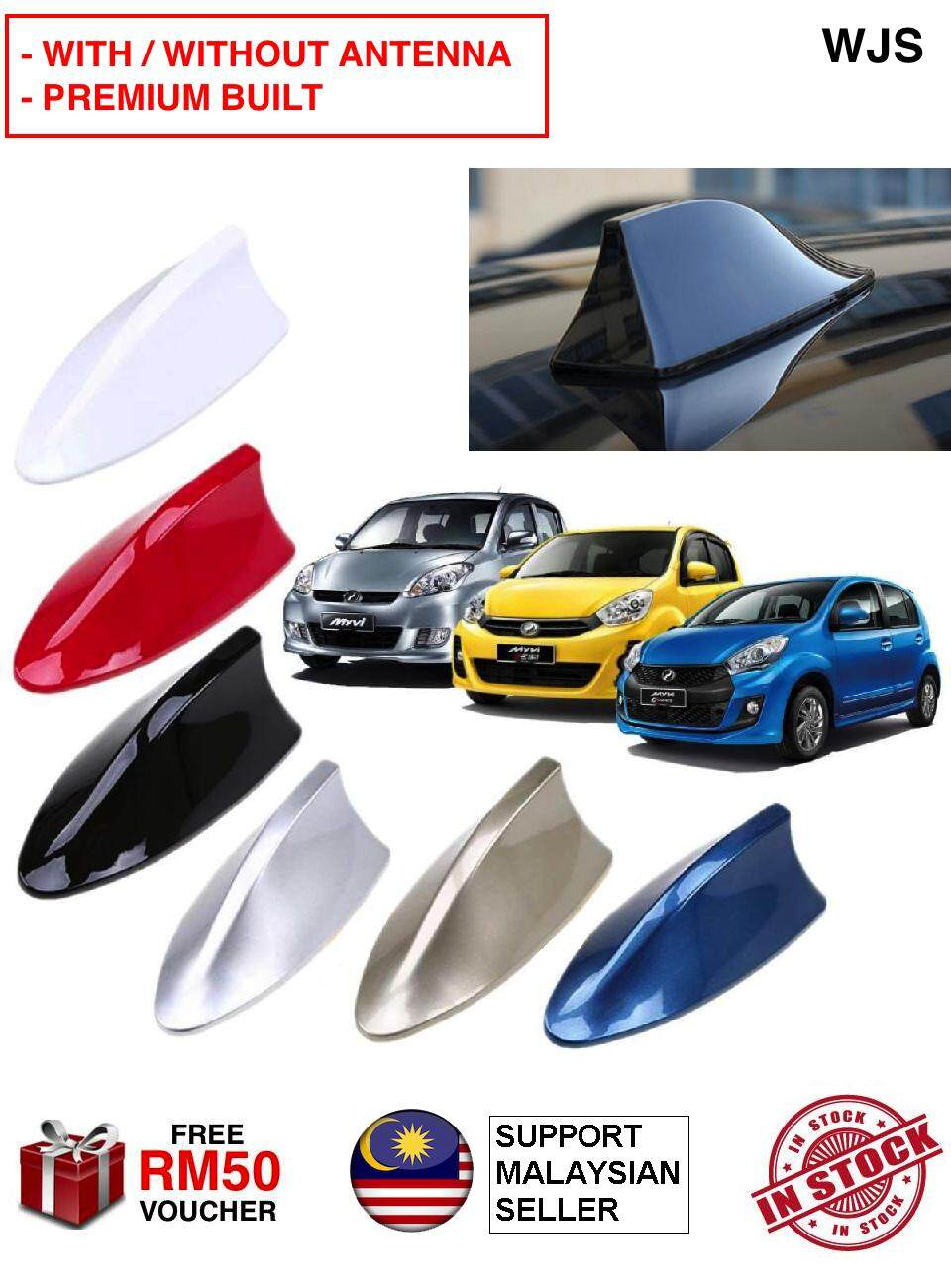 (WITH & WITHOUT ANTENNA OPTION) WJS Universal Car Shark Fin Car Truck Van Roof Shark Fin Optional Antenna Radio Signal Aerial BLACK RED SILVER WHITE [FREE RM 50 VOUCHER]