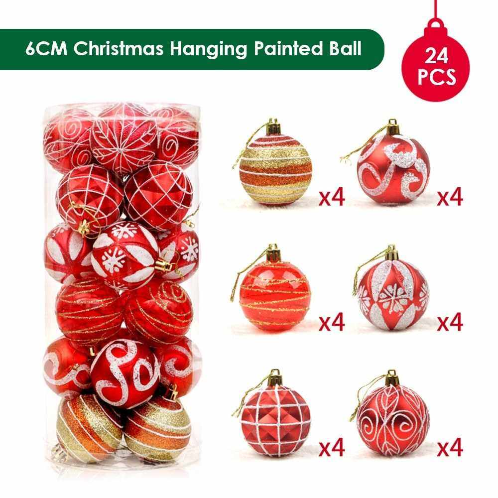 Christmas Hanging Ball Painted Ball 6cm 24PCS for Xmas Ornaments Christmas Tree Decoration Deco Home Party Daily Use Present Gift Festival Holiday Housewarming Portable (Red)
