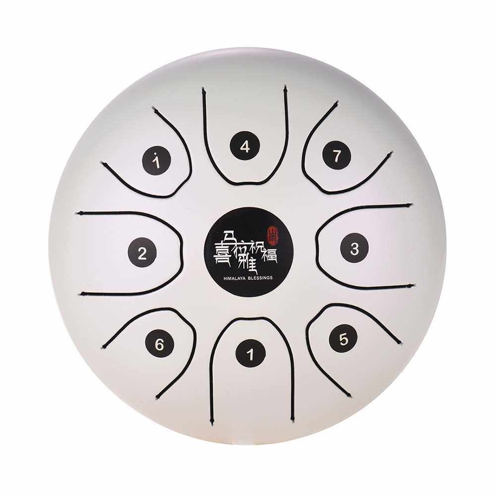 5.5 Inch Mini 8-Tone Steel Tongue Drum C Key Percussion Instrument Hand Pan Drum with Drum Mallets Carry Bag (White)