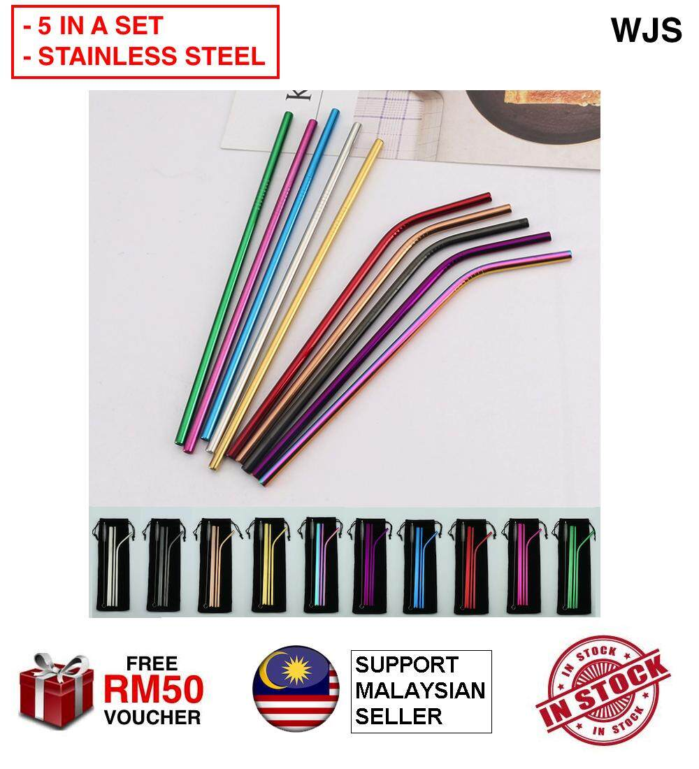 (5 IN A SET) WJS 5pcs 5 pcs Straw Set 304 Stainless Steel Straw Group Ice Blaster Cup Metal Straw Travel Drinking Straw Bubble Tea Straw Reusable Straw Bag Straw Pack MULTICOLOR [FREE RM 50 VOUCHER]