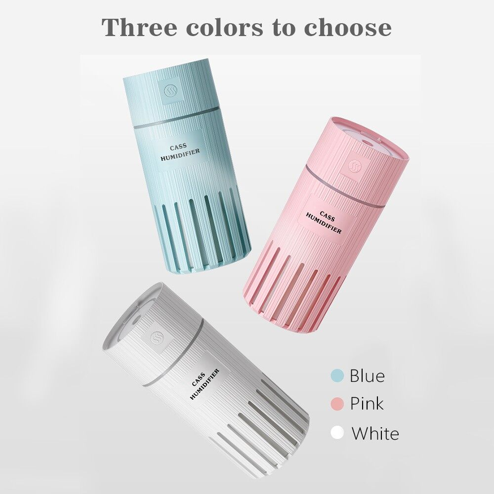 Humidifiers & Air Purifiers - 320ML Air Humidifier with LED Night Lamp MINI Fan AroDiffuser Air Purifier USB Powered for Home - BLUE / WHITE / PINK