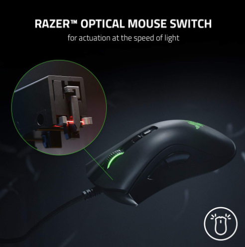 Razer Deathadder V2 Wired Ergonomic Gaming Mouse (RZ01-03210100-R3M1), Optical Mouse Switches, 20K DPI Focus, 8 Buttons