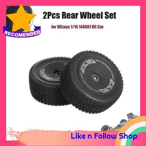 Wltoys 2Pcs Rear Wheels for WLtoys 1/14 144001 RC Car Tires Tyre Plastic Wheel Hub 1/14 RC Car Parts (Standard)